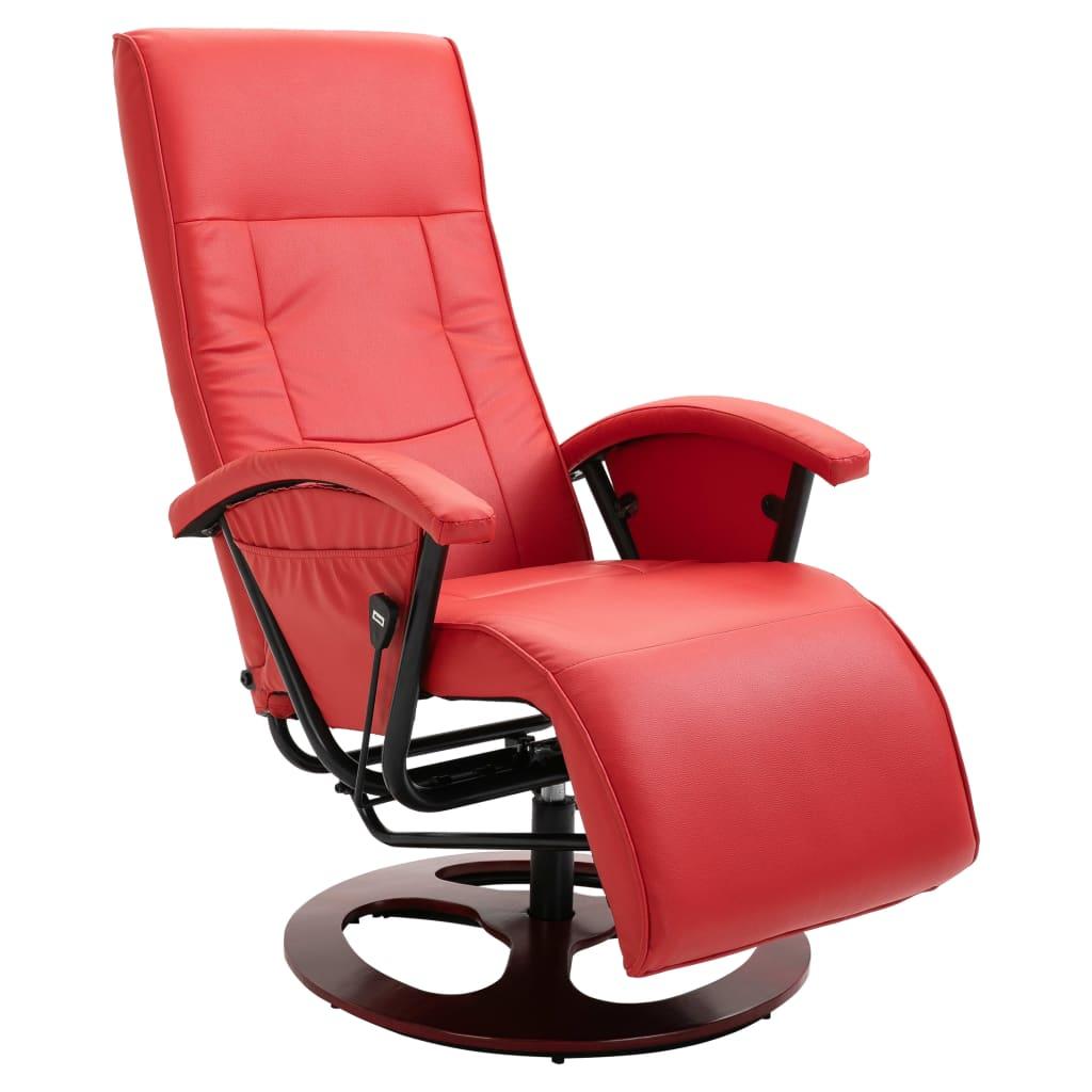 vidaXL Πολυθρόνα Περιστρεφόμενη Κόκκινη από Συνθετικό Δέρμα