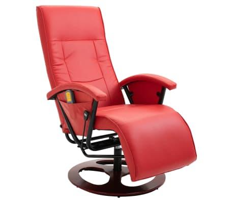 vidaXL Masažinis krėslas, raudonos spalvos, dirbtinė oda