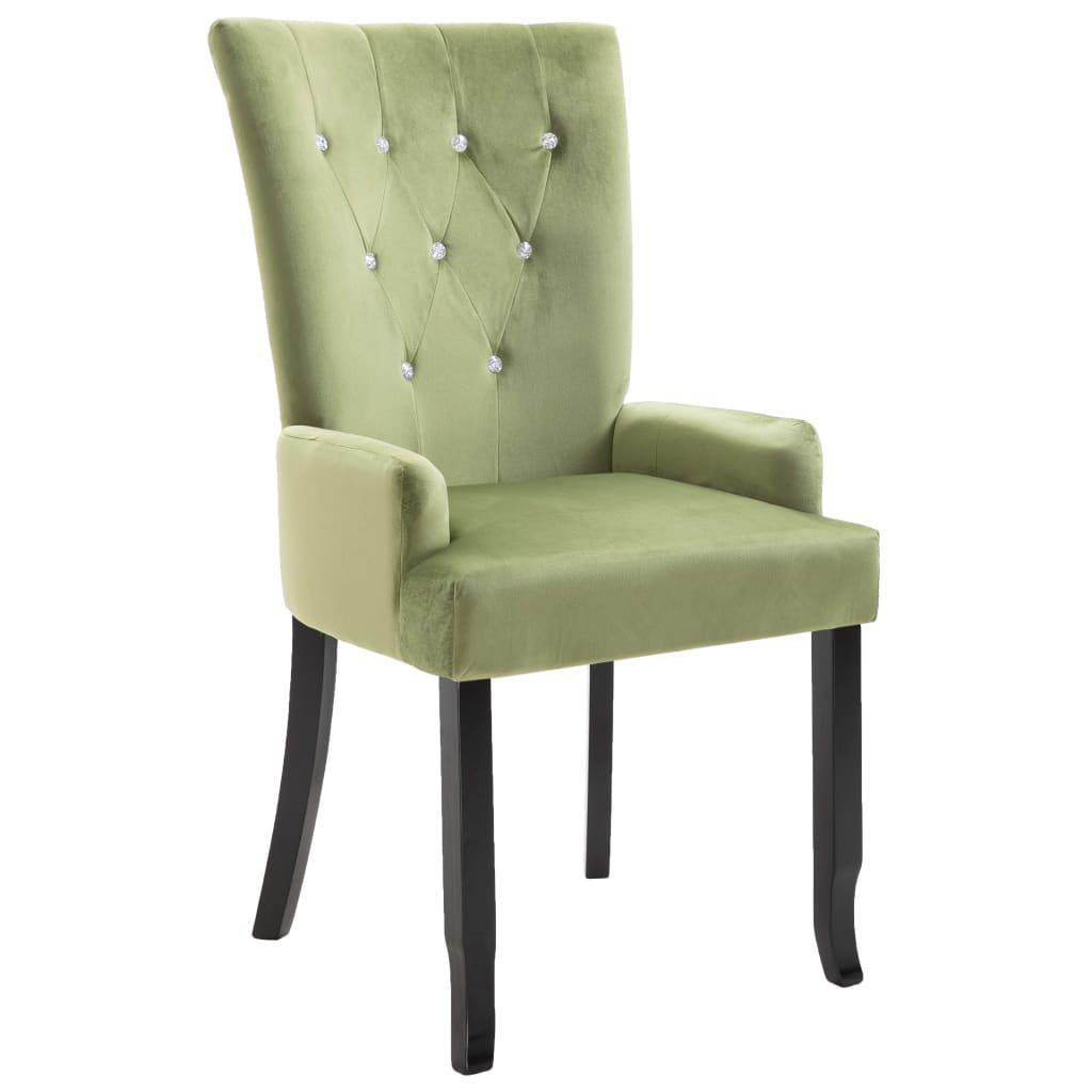 vidaXL Καρέκλα Τραπεζαρίας με Μπράτσα Ανοιχτό Πράσινο Βελούδινη