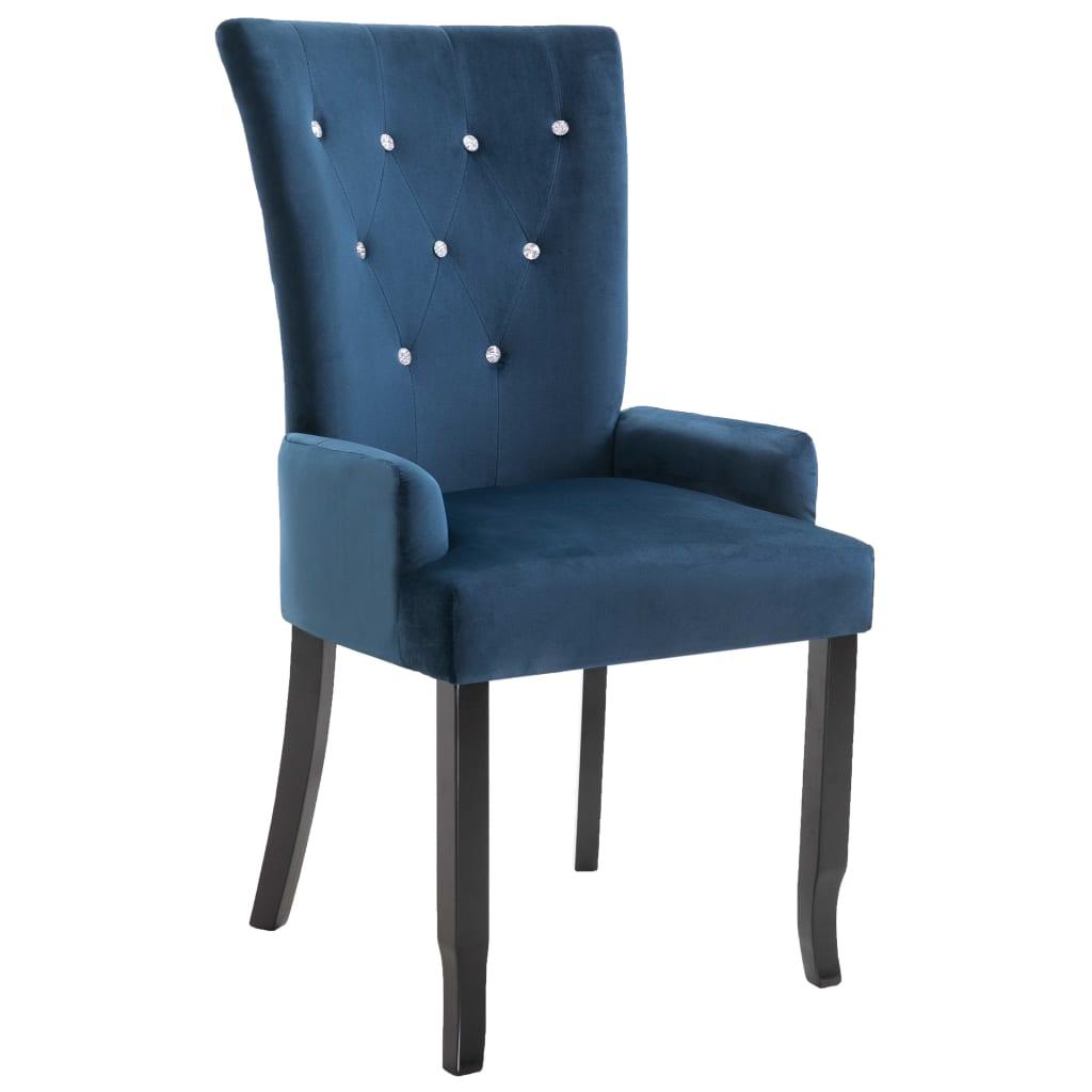vidaXL Καρέκλα Τραπεζαρίας με Μπράτσα Σκούρο Μπλε Βελούδινη