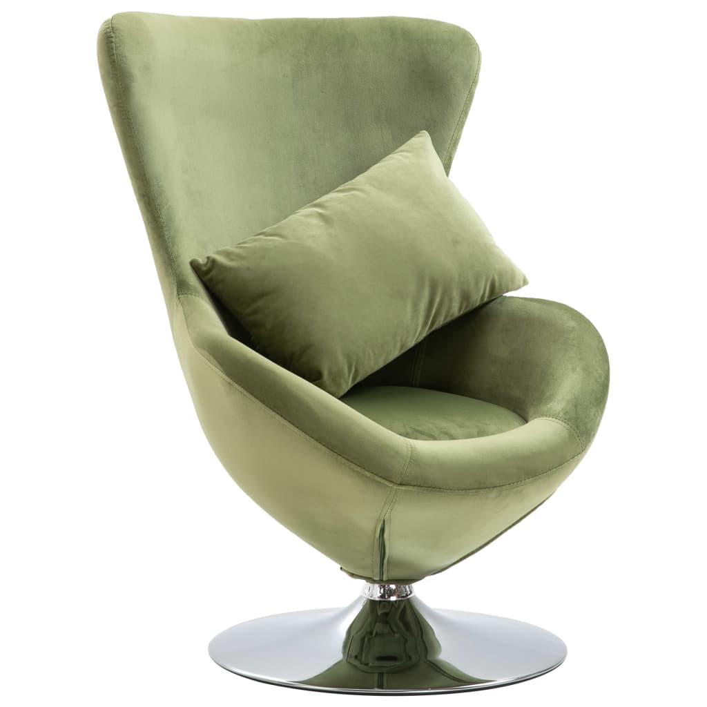 vidaXL Scaun ou rotativ, cu pernă, verde deschis, catifea imagine vidaxl.ro
