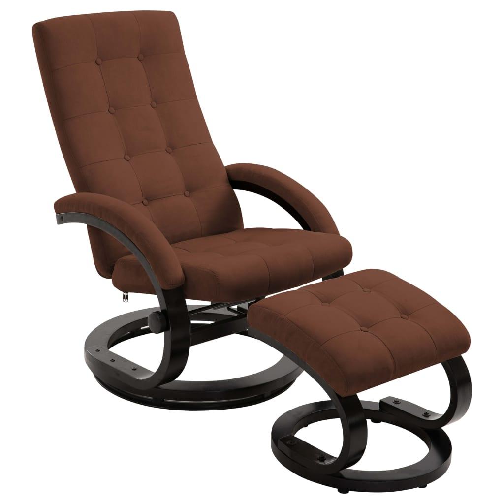 vidaXL Πολυθρόνα Ανακλινόμενη Καφέ Ύφασμα Τύπου Σουέντ με Υποπόδιο