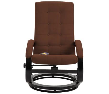 vidaXL Atlošiamas masažinis krėslas su pakoja, rud. sp., zomša[6/10]