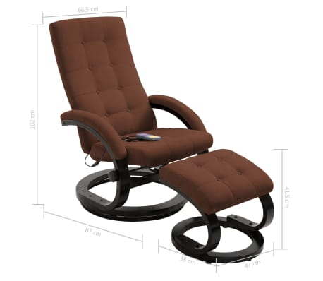 vidaXL Atlošiamas masažinis krėslas su pakoja, rud. sp., zomša[10/10]