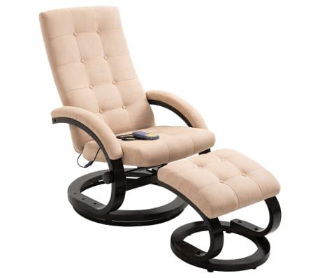 vidaXL Masažni fotelj s stolčkom za noge krem semiš blago