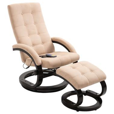 vidaXL Masažni fotelj s stolčkom za noge krem semiš blago[1/10]
