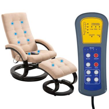 vidaXL Masažni fotelj s stolčkom za noge krem semiš blago[2/10]