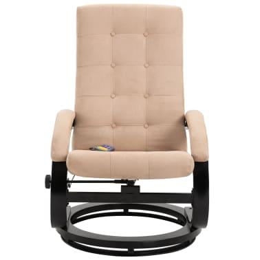 vidaXL Masažni fotelj s stolčkom za noge krem semiš blago[4/10]