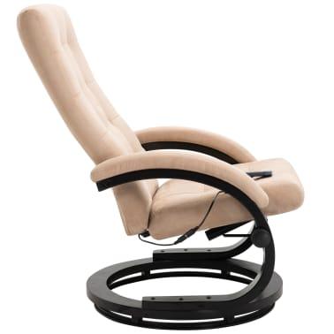 vidaXL Masažni fotelj s stolčkom za noge krem semiš blago[5/10]