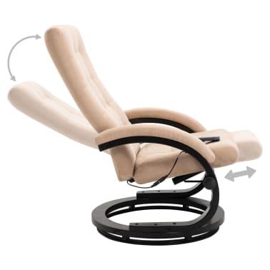 vidaXL Masažni fotelj s stolčkom za noge krem semiš blago[6/10]