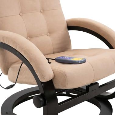 vidaXL Masažni fotelj s stolčkom za noge krem semiš blago[8/10]