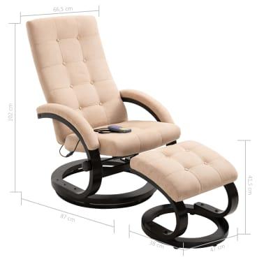 vidaXL Masažni fotelj s stolčkom za noge krem semiš blago[10/10]
