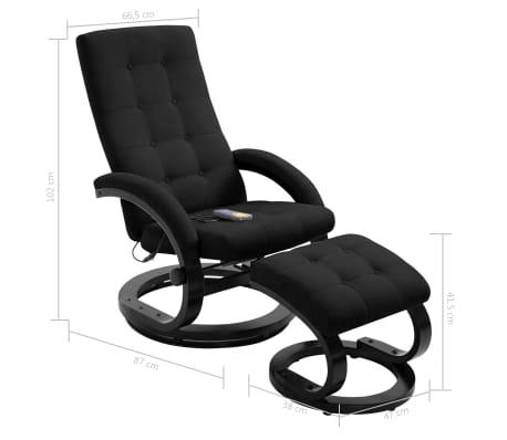 vidaXL Atlošiamas masažinis krėslas su pakoja, juod. sp., zomša[10/10]