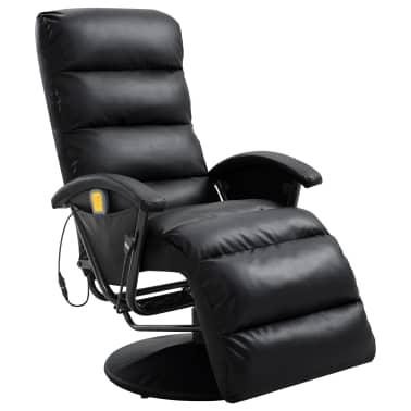 vidaXL Atlošiamas masažinis TV krėslas, juodos sp., dirbtinė oda[1/8]