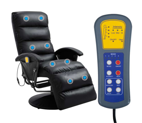 vidaXL Atlošiamas masažinis TV krėslas, juodos sp., dirbtinė oda[2/8]