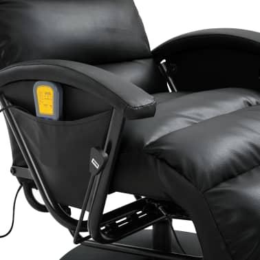 vidaXL Atlošiamas masažinis TV krėslas, juodos sp., dirbtinė oda[7/8]