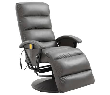 vidaXL Atlošiamas masažinis TV krėslas, pilkos sp., dirbtinė oda[1/8]