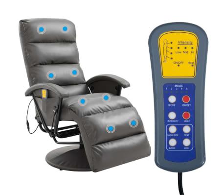 vidaXL Atlošiamas masažinis TV krėslas, pilkos sp., dirbtinė oda[2/8]