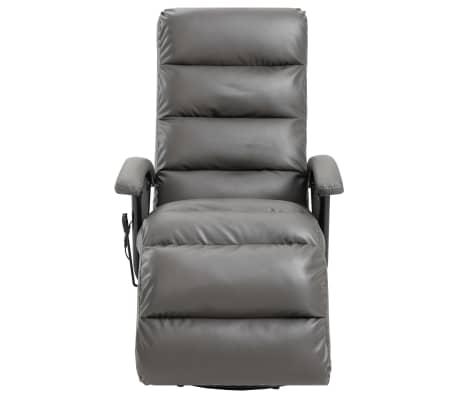 vidaXL Atlošiamas masažinis TV krėslas, pilkos sp., dirbtinė oda[3/8]
