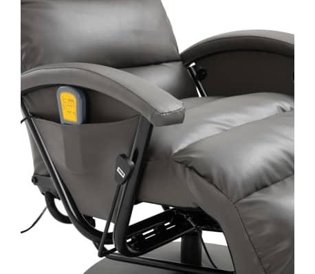 vidaXL Atlošiamas masažinis TV krėslas, pilkos sp., dirbtinė oda[7/8]