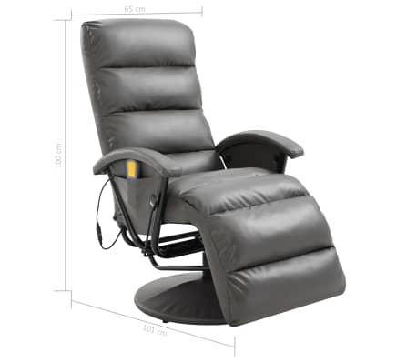 vidaXL Atlošiamas masažinis TV krėslas, pilkos sp., dirbtinė oda[8/8]