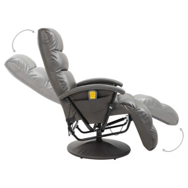 vidaXL Atlošiamas masažinis TV krėslas, pilkos sp., dirbtinė oda[5/8]