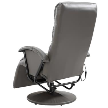 vidaXL Atlošiamas masažinis TV krėslas, pilkos sp., dirbtinė oda[6/8]
