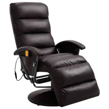 vidaXL Atlošiamas masažinis TV krėslas, rudos sp., dirbtinė oda[1/8]