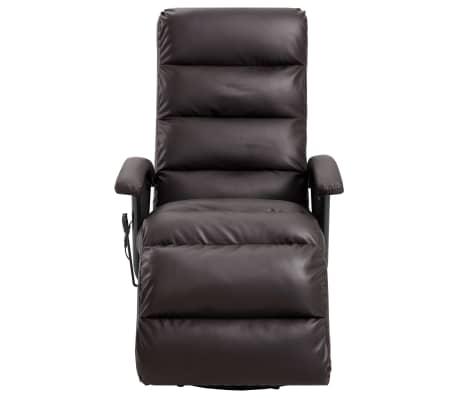 vidaXL Atlošiamas masažinis TV krėslas, rudos sp., dirbtinė oda[3/8]