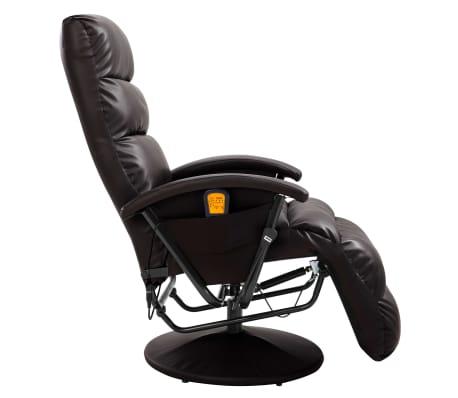 vidaXL Atlošiamas masažinis TV krėslas, rudos sp., dirbtinė oda[4/8]