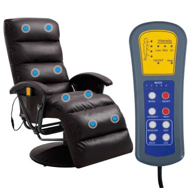 vidaXL Atlošiamas masažinis TV krėslas, rudos sp., dirbtinė oda[2/8]