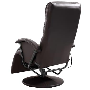 vidaXL Atlošiamas masažinis TV krėslas, rudos sp., dirbtinė oda[6/8]