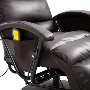 vidaXL Atlošiamas masažinis TV krėslas, rudos sp., dirbtinė oda[7/8]