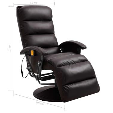 vidaXL Atlošiamas masažinis TV krėslas, rudos sp., dirbtinė oda[8/8]