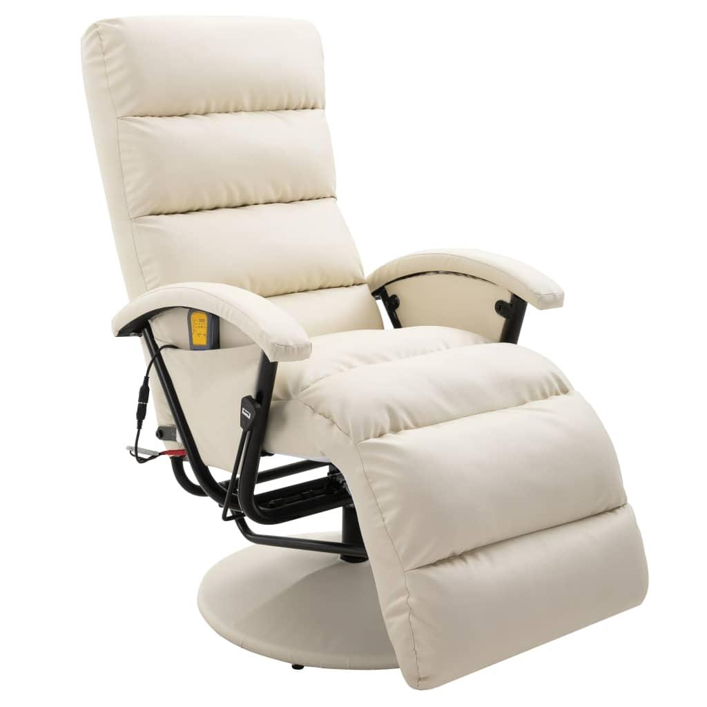 vidaXL Fotoliu de masaj rabatabil pentru TV alb crem piele ecologică imagine vidaxl.ro