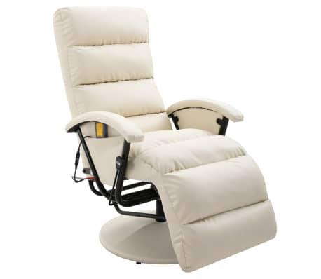 vidaXL Atlošiamas masažinis TV krėslas, baltos sp., dirbtinė oda
