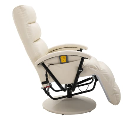 vidaXL Atlošiamas masažinis TV krėslas, baltos sp., dirbtinė oda[4/8]