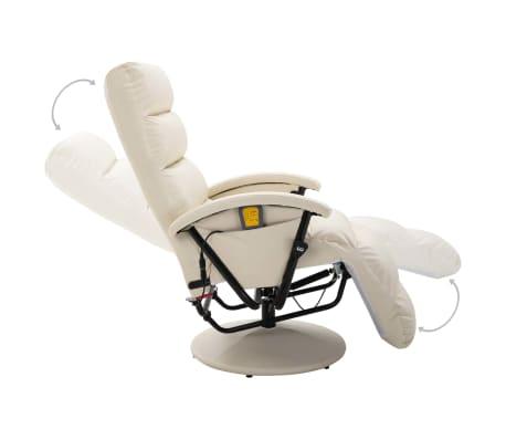 vidaXL Atlošiamas masažinis TV krėslas, baltos sp., dirbtinė oda[5/8]