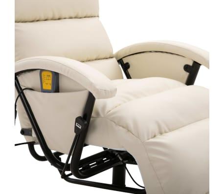 vidaXL Atlošiamas masažinis TV krėslas, baltos sp., dirbtinė oda[7/8]