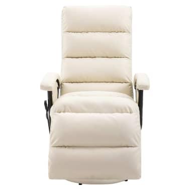vidaXL Atlošiamas masažinis TV krėslas, baltos sp., dirbtinė oda[3/8]