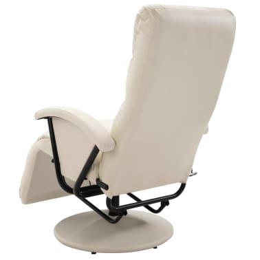 vidaXL Atlošiamas masažinis TV krėslas, baltos sp., dirbtinė oda[6/8]