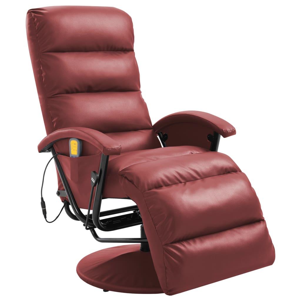 vidaXL Masažna TV fotelja od umjetne kože crvena boja vina