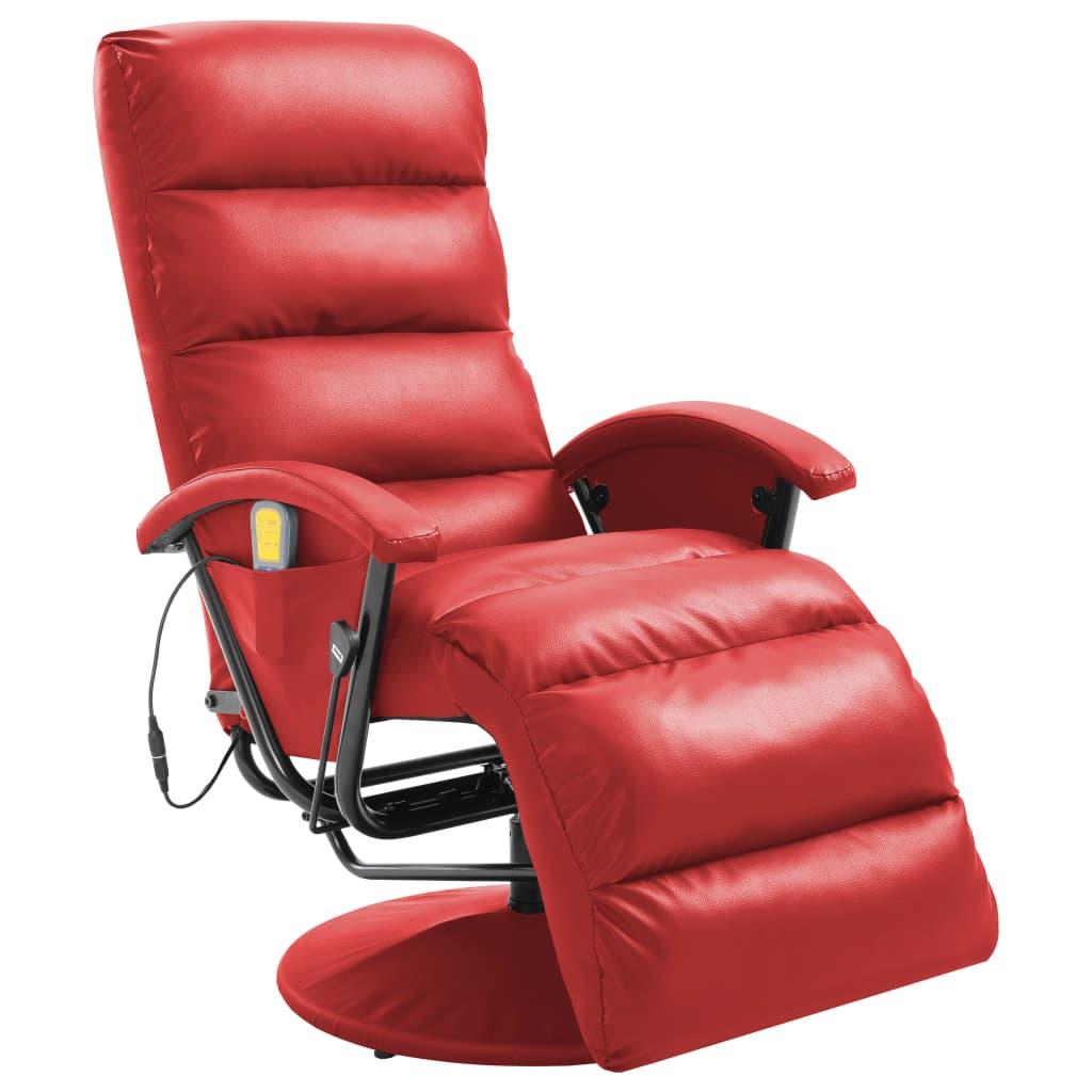 vidaXL Masažna TV fotelja od umjetne kože crvena