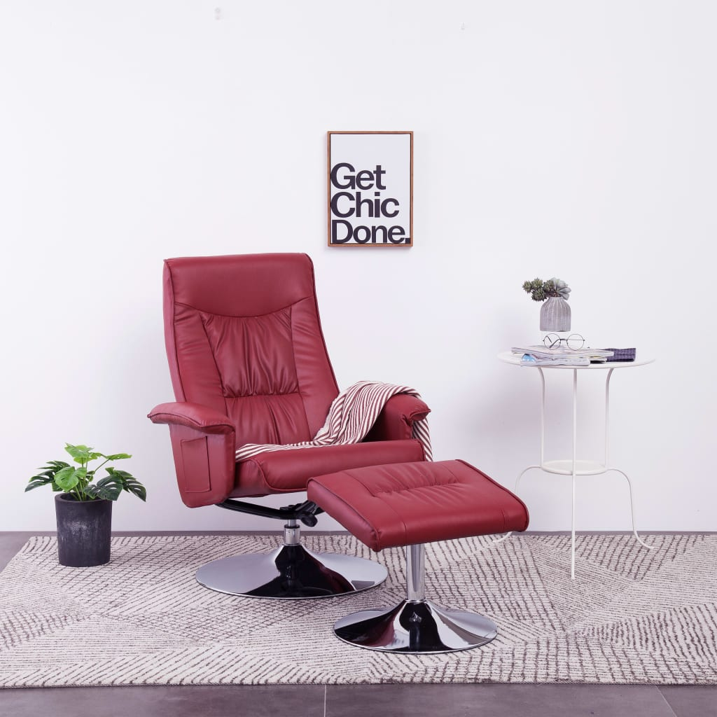 vidaXL Rozkładany fotel z podnóżkiem, czerwone wino, sztuczna skóra