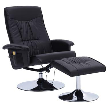 vidaXL Atlošiamas masažinis krėslas su pakoja, juodos sp., dirbt. oda[2/9]