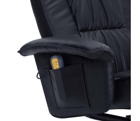 vidaXL Atlošiamas masažinis krėslas su pakoja, juodos sp., dirbt. oda[7/9]