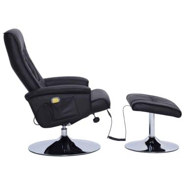 vidaXL Atlošiamas masažinis krėslas su pakoja, juodos sp., dirbt. oda[3/9]