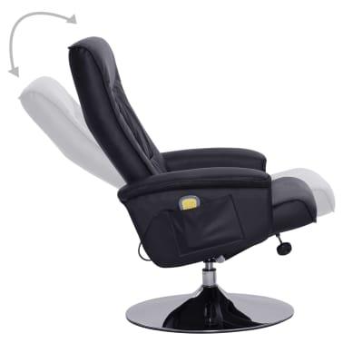 vidaXL Atlošiamas masažinis krėslas su pakoja, juodos sp., dirbt. oda[4/9]