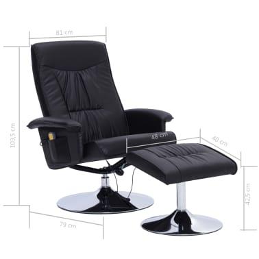 vidaXL Atlošiamas masažinis krėslas su pakoja, juodos sp., dirbt. oda[9/9]