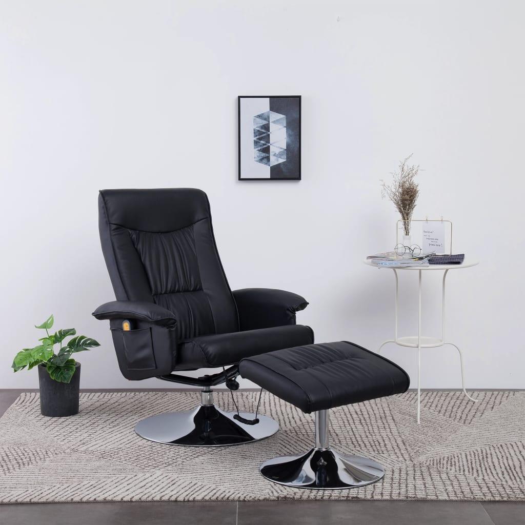 vidaXL Fotel do masażu z podnóżkiem, regulowany, czarny, ekoskóra